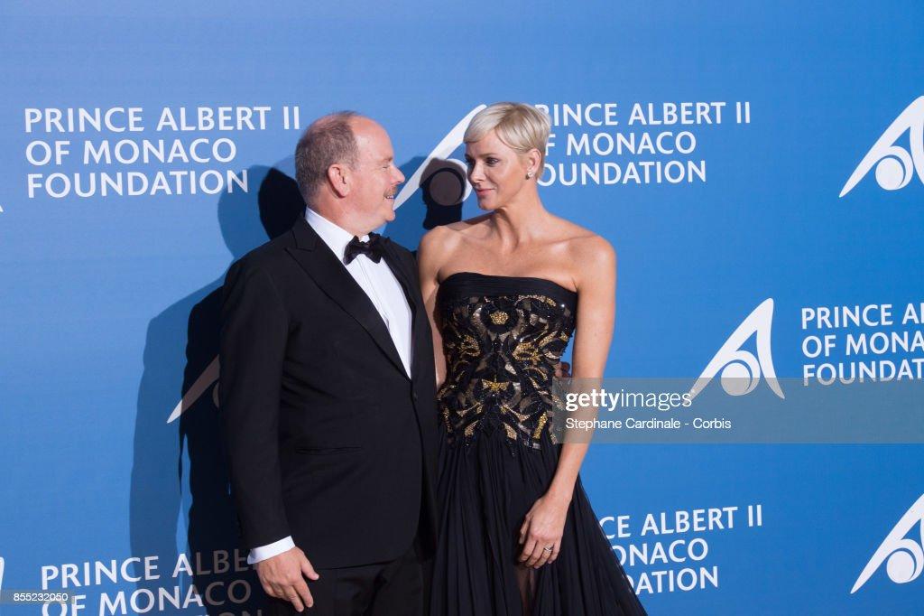 Prince Albert II of Monaco and Princess Charlene of Monaco attend the Inaugural 'Monte-Carlo Gala For The Global Ocean' Honoring Leonardo DiCaprio at The Monaco Garnier Opera on September 28, 2017 in Monaco, Monaco.