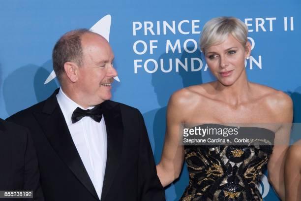 Prince Albert II of Monaco and Princess Charlene of Monaco attend the Inaugural 'MonteCarlo Gala For The Global Ocean' Honoring Leonardo DiCaprio at...