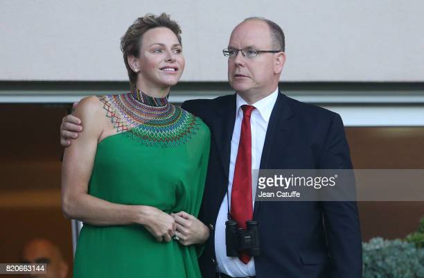 Prince Albert II of Monaco and Princess Charlene of Monaco cheer for Wayde van Niekerk of South Africa during his 400m at the IAAF Diamond League...