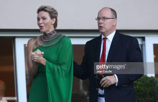 Prince Albert II of Monaco and Princess Charlene of Monaco cheer for Wayde van Niekerk of South Africa during his 400m at the IAAF Diamond League...