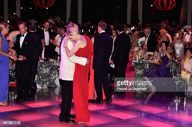 Prince Albert II of Monaco and Princess Charlene of Monaco danse during the Monaco Red Cross Gala on July 25 2015 in MonteCarlo Monaco