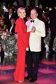 Prince Albert II of Monaco and Princess Charlene of Monaco danse during the Monaco Red Cross Gala on July 25 2015 in MonteCarlo Monaco