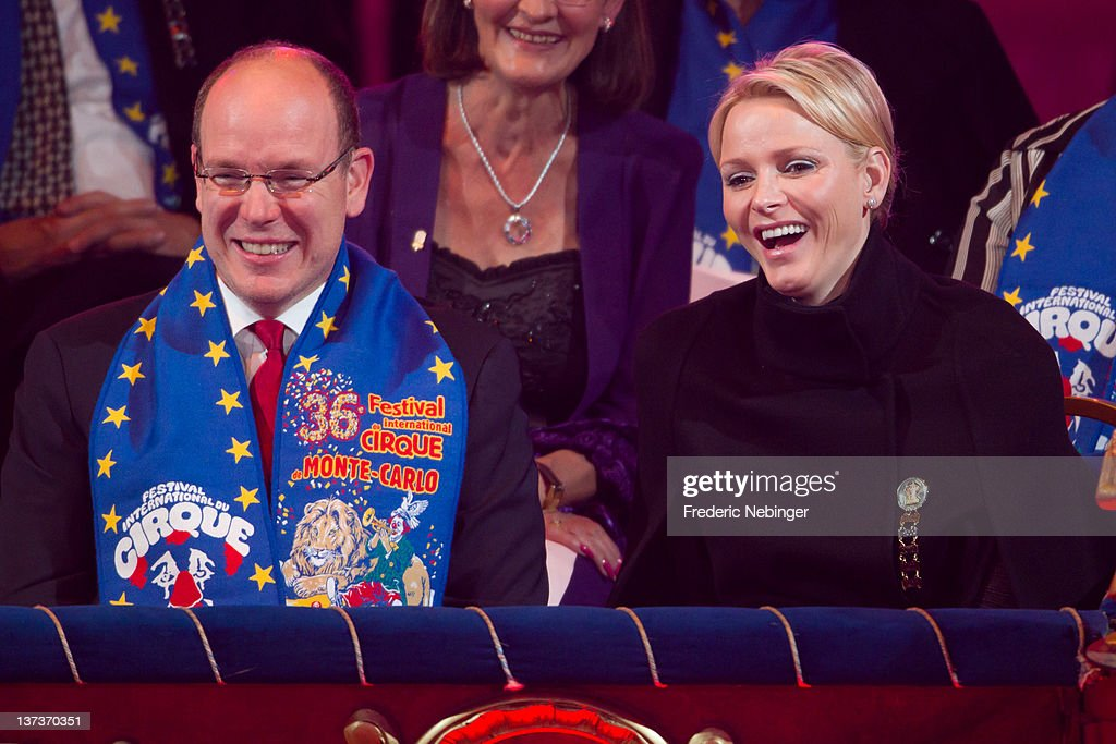 Prince Albert II of Monaco and Princess Charlene of Monaco during the Monte-Carlo 36th International Circus Festival on January 19, 2012 in Monte-Carlo, Monaco.