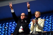 Prince Albert II of Monaco and Princess Charlene of Monaco enjoy the atmosphere during the Opening Ceremony of the Sochi 2014 Winter Olympics at...