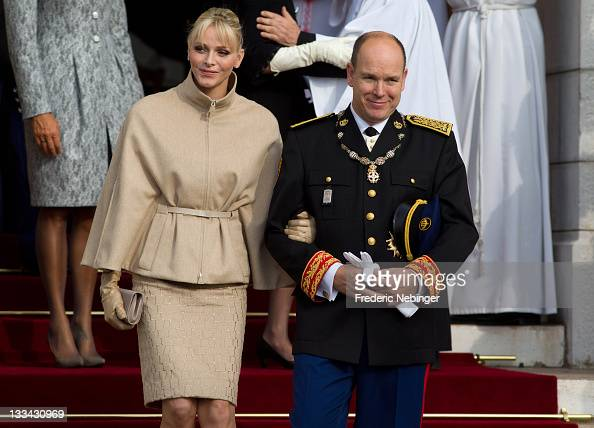 Prince Albert II of Monaco and Princess Charlene of Monaco leave the Cathedrale NotreDame Immaculee after attending a mass as part of Monaco National...