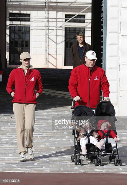 Prince Albert II of Monaco and Princess Charlene of Monaco leave with their twin children the Monaco Palace to participate in a 'March for climate'...