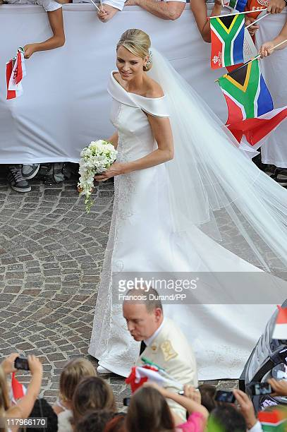 Prince Albert II of Monaco and Princess Charlene of Monaco make their journey to Sainte Devote church after their religious wedding ceremony at the...