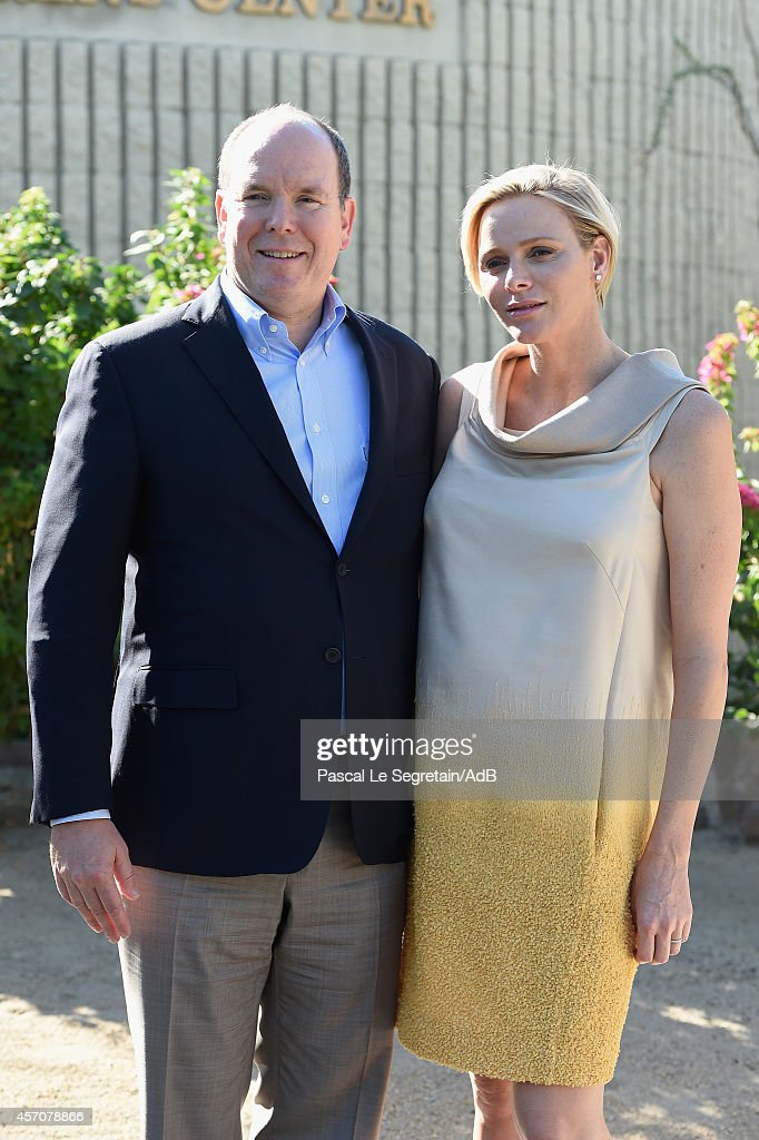 <a gi-track='captionPersonalityLinkClicked' href=/galleries/search?phrase=Prince+Albert+II+of+Monaco&family=editorial&specificpeople=201707 ng-click='$event.stopPropagation()'>Prince Albert II of Monaco</a> and Princess <a gi-track='captionPersonalityLinkClicked' href=/galleries/search?phrase=Charlene+-+Princess+of+Monaco&family=editorial&specificpeople=726115 ng-click='$event.stopPropagation()'>Charlene</a> of Monaco pose as they arrive to attend a visit to the Barbara Sinatra Children's Center on October 11, 2014 in Rancho Mirage, California.