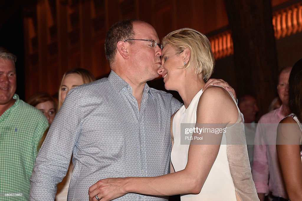Prince Albert II of Monaco and Princess Charlene of Monaco pose during the Second Day of the 10th Anniversary on the Throne Celebrations on July 12...