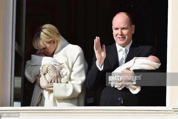 Prince Albert II of Monaco and Princess Charlene of Monaco pose with Prince Jacques and Princess Gabriella on the Balcony of the Monaco Palace on...