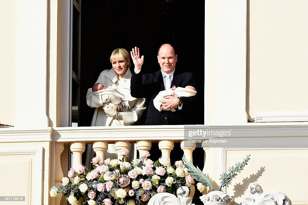 Prince Albert II of Monaco and Princess Charlene of Monaco pose with Prince Jacques and Princess Gabriella on the Balcony of the Monaco Palace on...