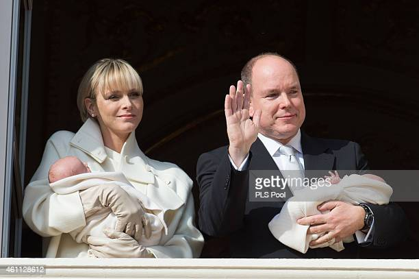 Prince Albert II of Monaco and Princess Charlene of Monaco present twins Princess Gabriella of Monaco and Prince Jacques of Monaco at the Palace...