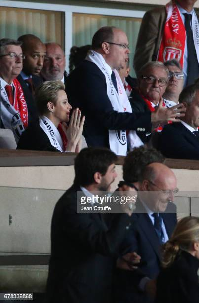 Prince Albert II of Monaco and Princess Charlene of Monaco react after the second goal of Juventus while President of Juventus Andrea Agnelli...