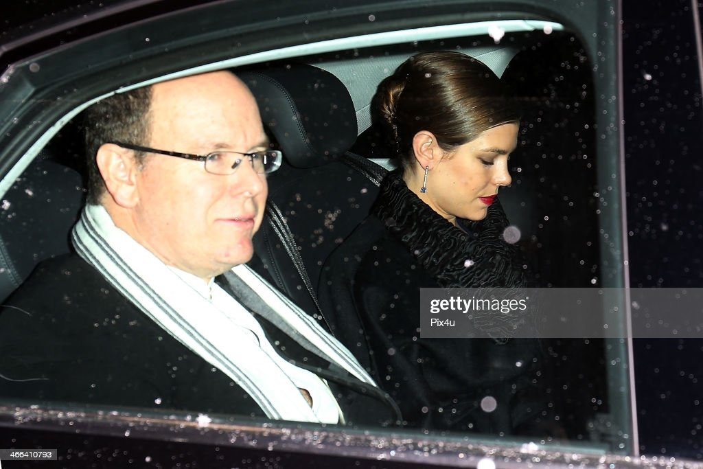 Prince Albert II of Monaco and Princess Charlotte of Monaco attend the wedding of Andrea Casiraghi And Tatiana Santo Domingo at the Rougemont church on February 1, 2014 in Gstaad, Switzerland.