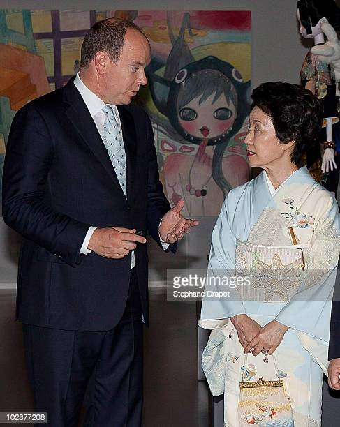 Prince Albert II of Monaco and Princess Hitachi of Japan visit the art exhibition KyotoTokyo during the opening ceremony at Grimaldi Forum on July 13...