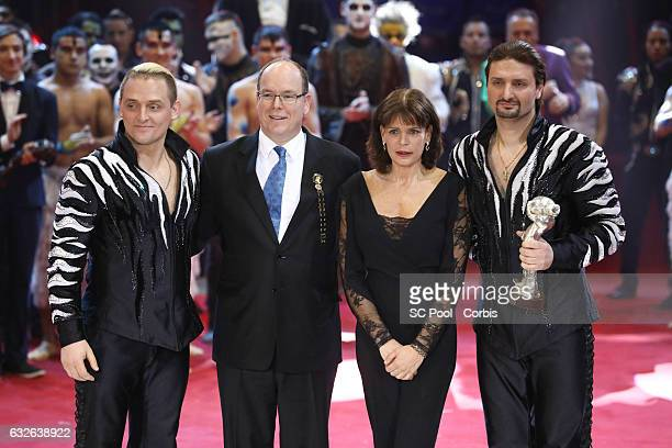 Prince Albert II of Monaco and Princess Stephanie pose with Zapashny brothers winners of a Silver Clown award at the awards ceremony of the 41st...