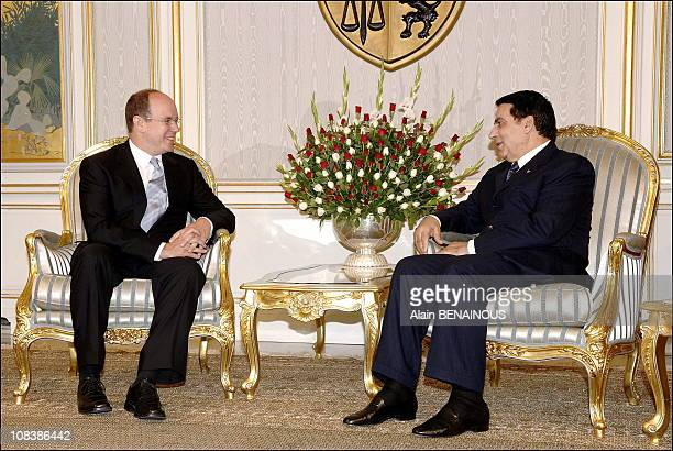 Prince Albert II of Monaco and Tunisian president Ben Ali in Tunis Tunisia on September 07 2006
