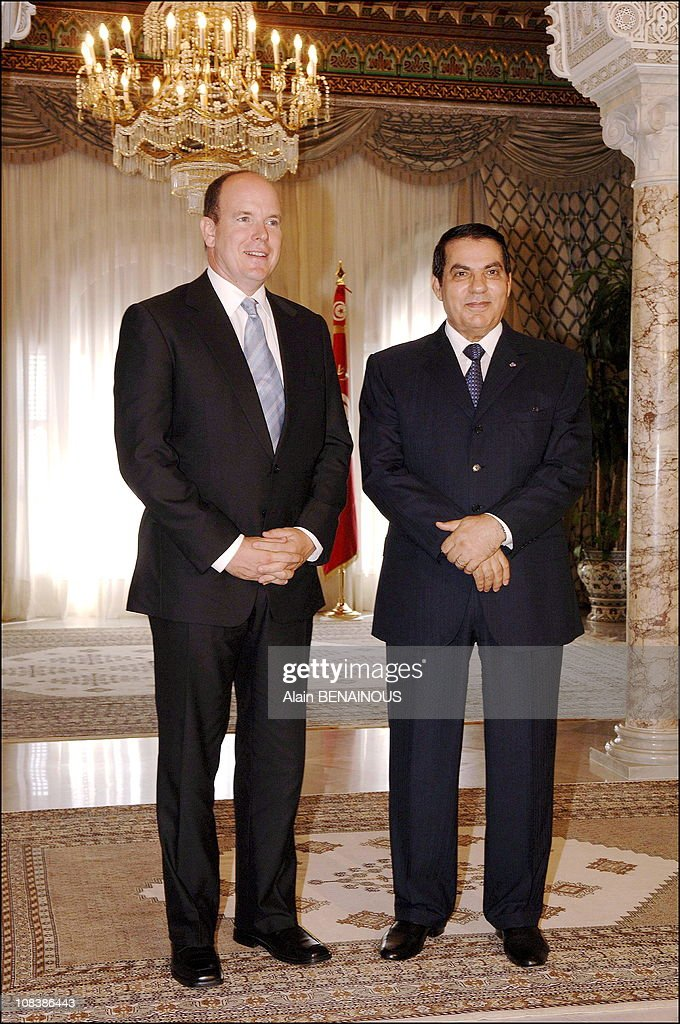 Prince Albert II of Monaco and Tunisian president Ben Ali in Tunis, Tunisia on September 07, 2006.