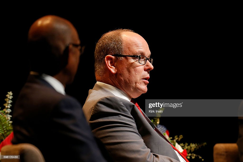 H Prince Albert II of Monaco answers questions from the audience about climate change and sustainable energy after giving a speech at Mershon...