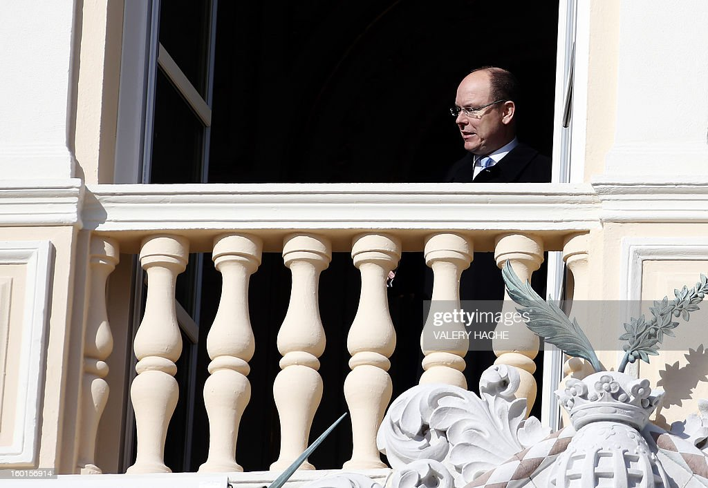 Prince Albert II of Monaco appears on the balcony of the prince's palace during the Sainte-Devote festivities, on January 27, 2013, in Monaco. Saint Devote is the patron saint of the Grimaldi family, reigning in Monaco, and is celebrated each year as a national holiday.