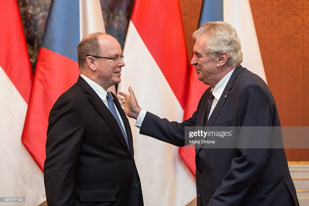 Prince Albert II of Monaco (L) arrives at the Prague Castle to meet with Czech President <a gi-track='captionPersonalityLinkClicked' href=/galleries/search?phrase=Milos+Zeman&family=editorial&specificpeople=2595776 ng-click='$event.stopPropagation()'>Milos Zeman</a> (R) on May 13, 2016 in Prague, Czech Republic. Prince Albert II of Monaco is in the Czech Republic for marking the 700th anniversary of King a Emperor Charles IV's birth.
