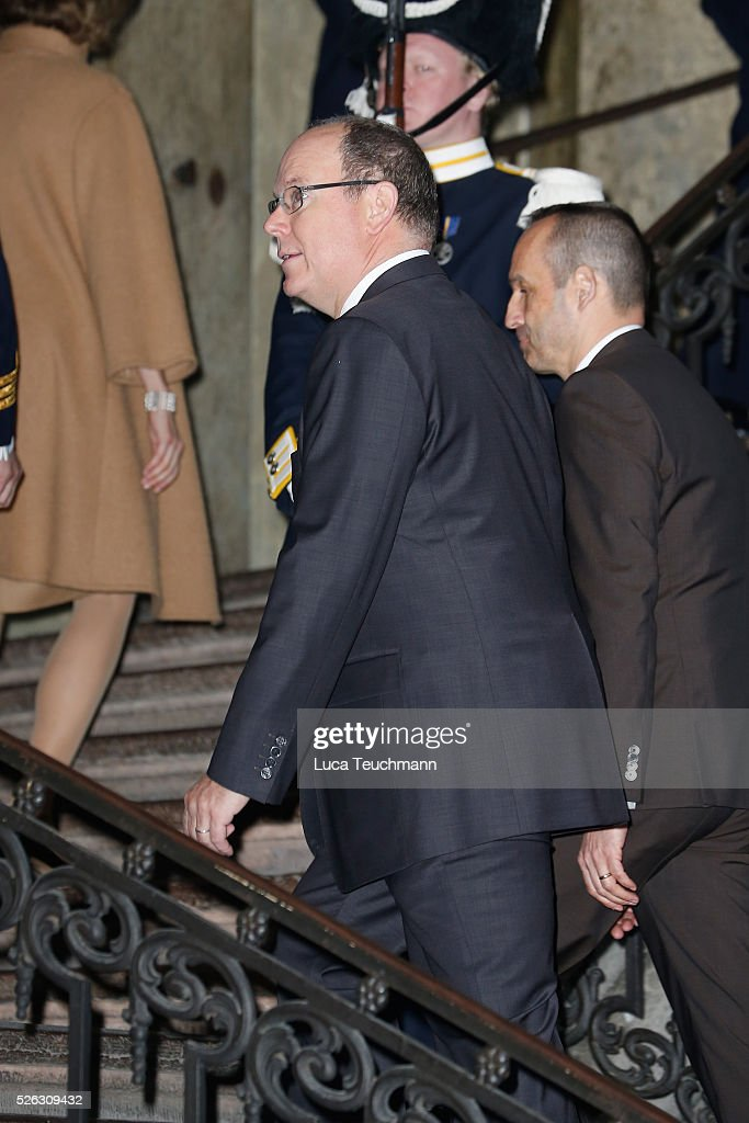 Prince Albert II of Monaco arrives at the Royal Palace to attend Te Deum Thanksgiving Service to celebrate the 70th birthday of King Carl Gustaf of Sweden on April 30, 2016 in Stockholm, Sweden.