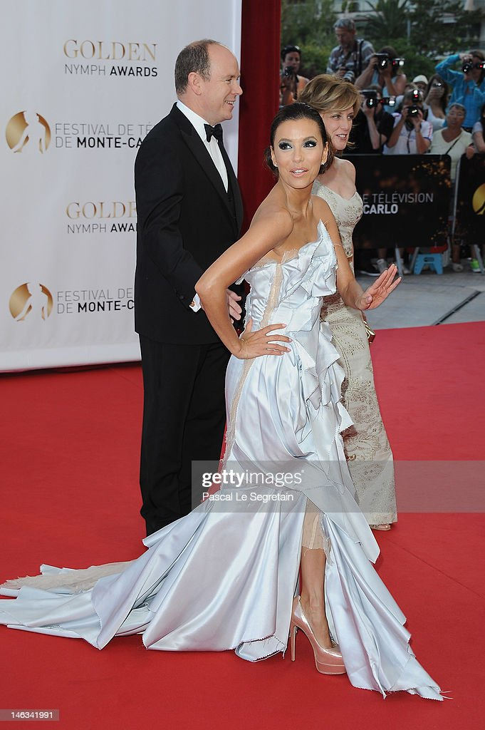 Prince Albert II of Monaco arrives with actress Eva Longoria and Anne Sweeney to arttend the Closing Ceremony of the 52nd Monte Carlo TV Festival on June 14, 2012 in Monte-Carlo, Monaco.