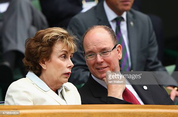 Prince Albert II of Monaco attend day nine of the Wimbledon Lawn Tennis Championships at the All England Lawn Tennis and Croquet Club on July 8 2015...