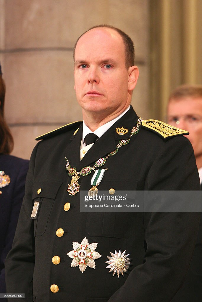 HRH Prince Albert II of Monaco attends a pontifical mass marking his formal investiture as the new ruler of Monaco, at Monaco cathedral.