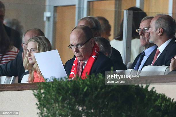 Prince Albert II of Monaco attends the UEFA Champions League Group C match between AS Monaco FC and Bayer 04 Leverkusen at Louis II Stadium on...
