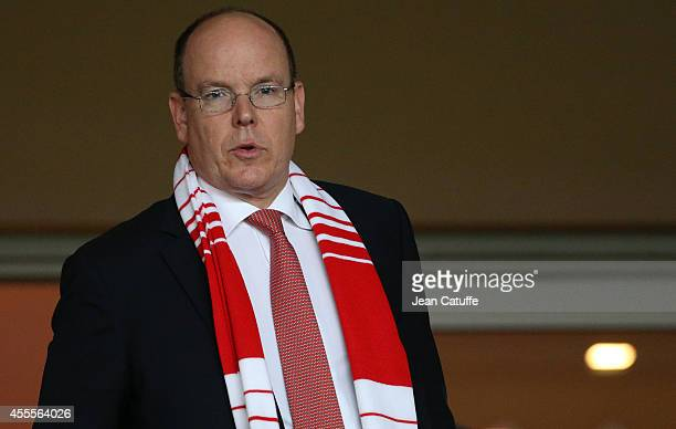 Prince Albert II of Monaco attends the UEFA Champions League Group C match between AS Monaco FC and Bayer Leverkusen at Stade Louis II on September...