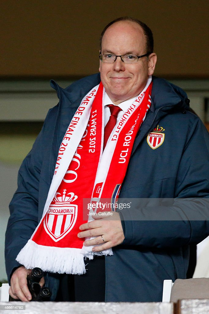 Prince Albert II of Monaco attends the UEFA Champions League round of 16 match between AS Monaco FC and Arsenal FC at Stade Louis II on March 17, 2015 in Monaco.