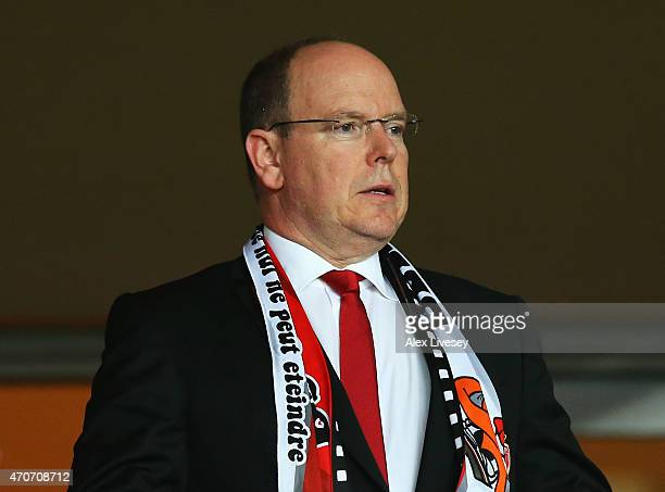 Prince Albert II of Monaco attends the UEFA Champions League quarterfinal second leg match between AS Monaco FC and Juventus at Stade Louis II on...