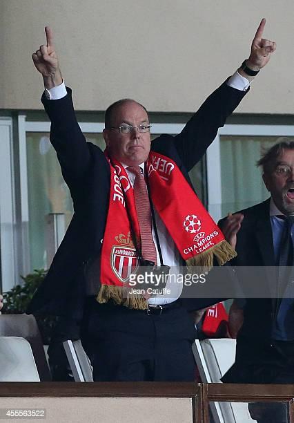 Prince Albert II of Monaco celebrates Monaco's winning goal during the UEFA Champions League Group C match between AS Monaco FC and Bayer Leverkusen...