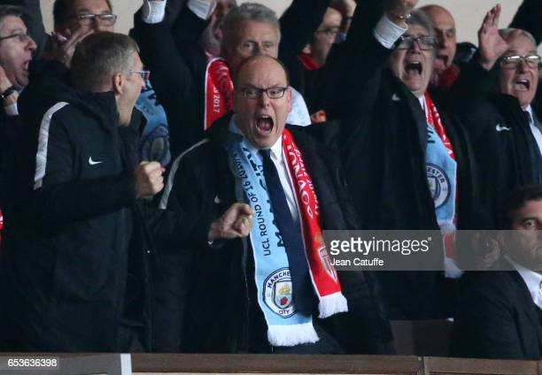 Prince Albert II of Monaco celebrates the third goal of Monaco during the UEFA Champions League Round of 16 second leg match between AS Monaco and...