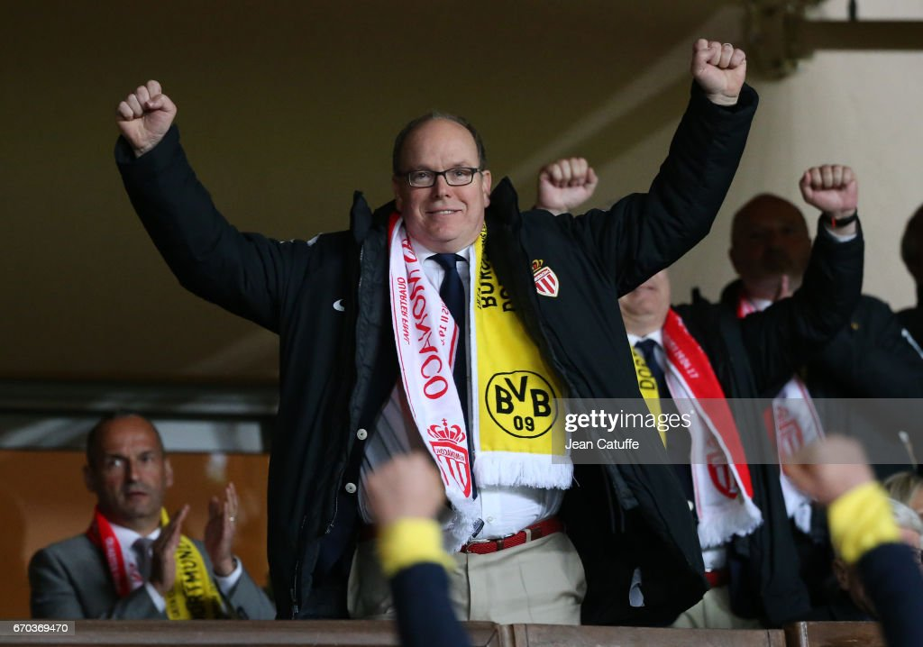 Prince Albert II of Monaco celebrates the victory following the UEFA Champions League quarter final second leg match between AS Monaco and Borussia Dortmund (BVB) at Stade Louis II on April 19, 2017 in Monaco, Monaco.