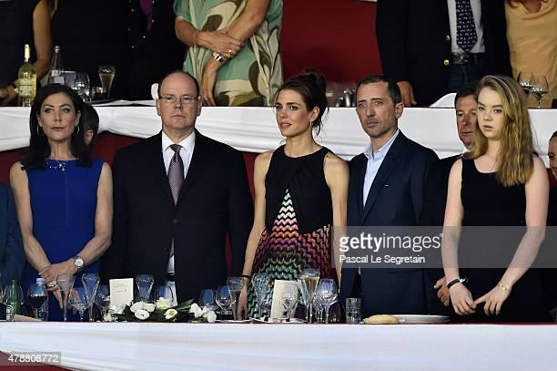 Prince Albert II of Monaco Charlotte Casiraghi Gad Elmaleh and Princess Alexandra of Hanover attend the 10th International MonteCarlo Jumping on June...