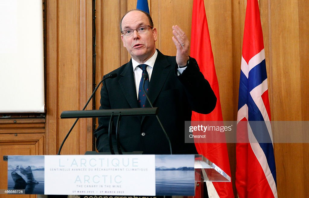 <a gi-track='captionPersonalityLinkClicked' href=/galleries/search?phrase=Prince+Albert+II+of+Monaco&family=editorial&specificpeople=201707 ng-click='$event.stopPropagation()'>Prince Albert II of Monaco</a> delivers his speech during the opening of a conference concerning climate change entitled 'The Arctic, the canary in the mine' at the Maison des Oceans on March 17, 2015 in Paris, France. This event is in preparation for the UN Climate Change Conference (COP 21) to be held in Paris in December 2015.