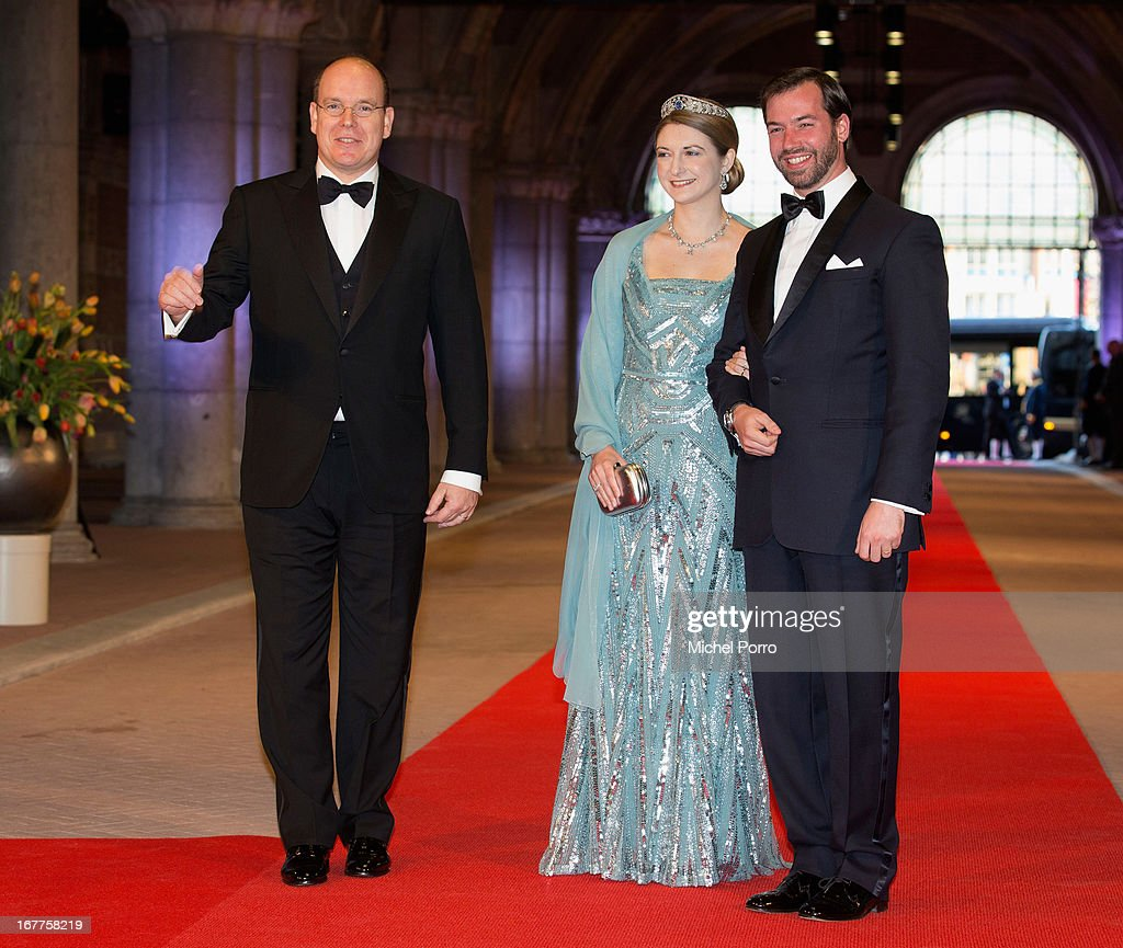 <a gi-track='captionPersonalityLinkClicked' href=/galleries/search?phrase=Prince+Albert+II+of+Monaco&family=editorial&specificpeople=201707 ng-click='$event.stopPropagation()'>Prince Albert II of Monaco</a> (L); Her Royal Highness Crown Princess Stephanie of Luxembourg and Prince Guillaume (R) attend a dinner hosted by Queen Beatrix of The Netherlands ahead of her abdication in favour of Crown Prince Willem Alexander at Rijksmuseum on April 29, 2013 in Amsterdam, Netherlands.