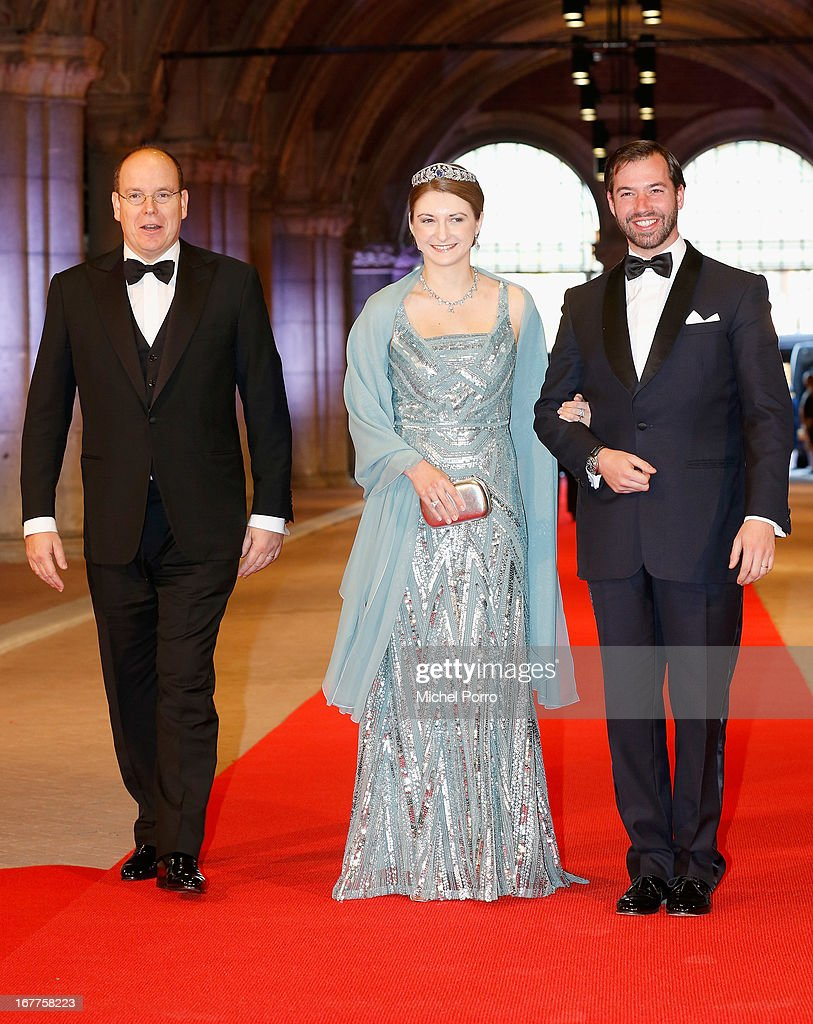 Prince Albert II of Monaco (L); Her Royal Highness Crown Princess Stephanie of Luxembourg and Prince Guillaume (R) attend a dinner hosted by Queen Beatrix of The Netherlands ahead of her abdication in favour of Crown Prince Willem Alexander at Rijksmuseum on April 29, 2013 in Amsterdam, Netherlands.