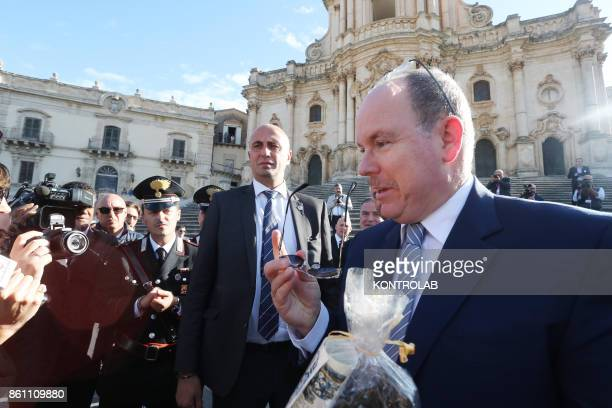 Prince Albert II of Monaco in Modica Sicily visits the Church of San Giorgio and inaugurates the Castle of the Counts In the photo the Prince...