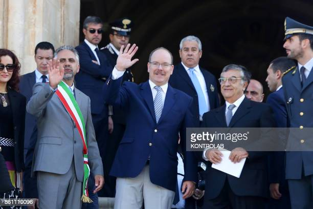 Prince Albert II of Monaco in Modica Sicily visits the Church of San Giorgio and inaugurates the Castle of the Counts In the photo the Prince with...