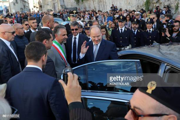 Prince Albert II of Monaco in Modica Sicily visits the Church of San Giorgio and inaugurates the Castle of the Counts In the photo the Prince greets...