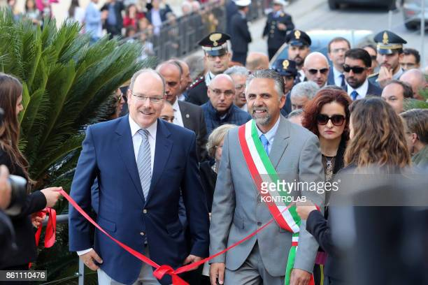 Prince Albert II of Monaco in Modica Sicily visits the Church of San Giorgio and inaugurates the Castle of the Counts In the photo the Prince and the...
