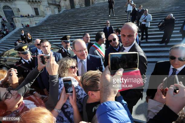 Prince Albert II of Monaco in Modica Sicily visits the Church of San Giorgio and inaugurates the Castle of the Counts In the photo the Prince take a...