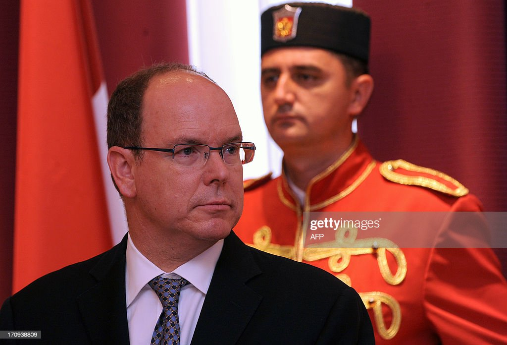 Prince Albert II of Monaco is pictured after a meeting with Montenegro's President Filip Vujanovic in Cetije on June 20, 2013.