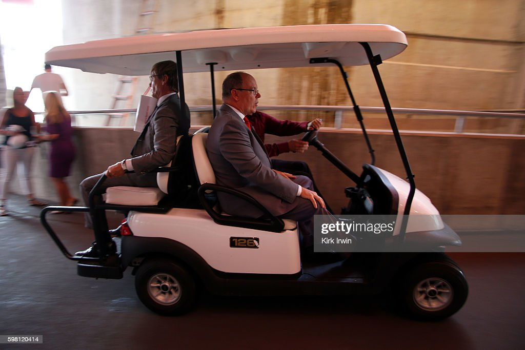 H Prince Albert II of Monaco is ushered up the tunnel at Ohio Stadium after meeting with reporters prior to giving a speech on climate change at Ohio...