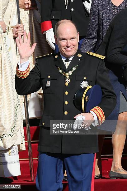 Prince Albert II of Monaco leaves the Cathedral of Monaco after a mass during the official ceremonies for the Monaco National Day at Cathedrale...
