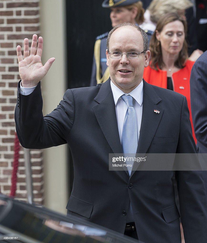 Prince Albert II of Monaco leaves the Loo Royal Palace on June 3, 2014 in Apeldoorn, Netherlands.