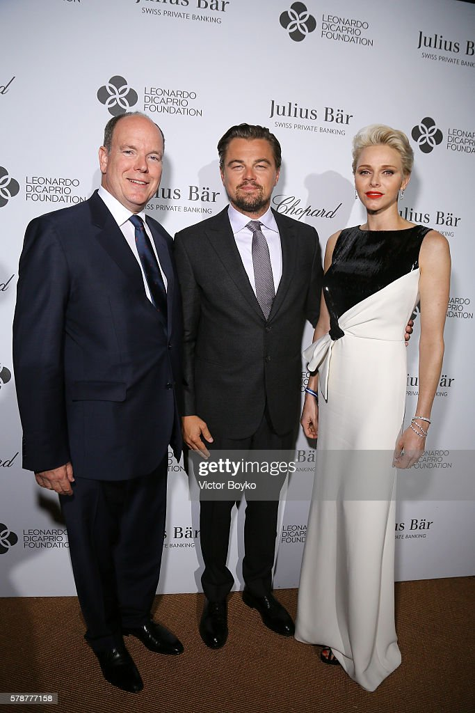 Prince Albert II of Monaco Leonardo DiCaprio and Princess Charlene of Monaco pose at a photocall during The Leonardo DiCaprio Foundation 3rd Annual...